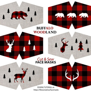 Red Black Buffalo Plaid Christmas Face Masks