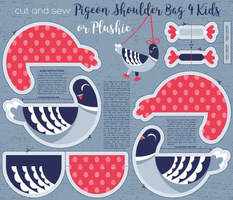 Cut and sew your own pigeon shoulder bag for kids or cute plushie // blue and red