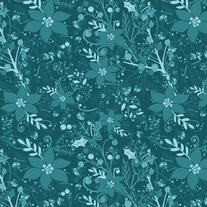 Winter flora cyan blue