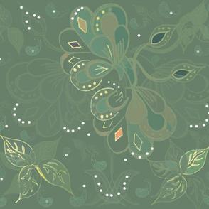Eastern Nouveau Maximalist Autumn Flora On Teal
