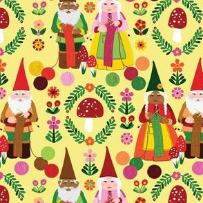Yellow Knitting Gnomes