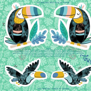 fat quarter toucan musicbox and rattle DIY cut and sew
