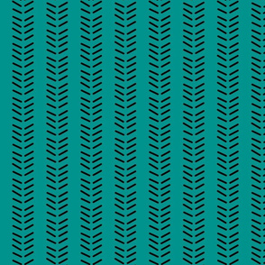 Mudcloth 3 Inverted & Vertical - Teal and Black