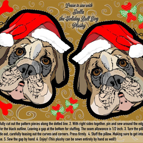 Cut and Sew Bull dog with Santa Hat