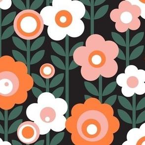 Marguerite* (Mona & Valencia on Black) || vintage sheet mod 70s 60s flower floral leaves stem garden spring summer