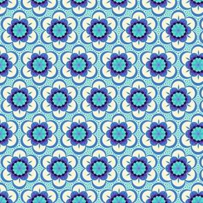 Bold floral - blue mini