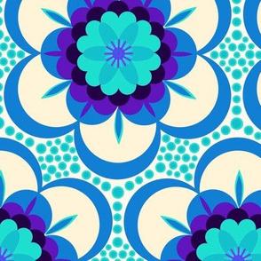 Bold floral - blue xl (vibrant )