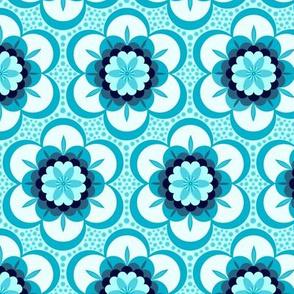 Bold retro floral - aqua