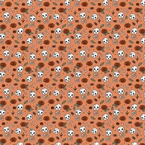 Little roses and bones skulls for girls halloween day of the dead skeleton garden orange red mint TINY