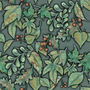 Herbstbättermuster graugrün