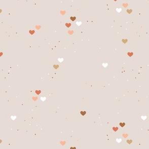 Rainbow love planets hearts confetti pride gay universe on beige orange brown