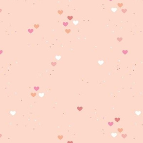 Rainbow love planets hearts confetti pride gay universe on beige coral pink