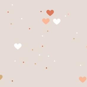 Rainbow love planets hearts confetti pride gay universe on beige orange brown Large