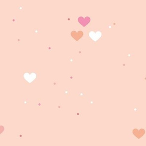 Rainbow love planets hearts confetti pride gay universe on beige coral pink LARGE