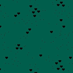 Christmas love minimal hearts and snow flakes spots design neutral forest green