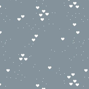 Christmas love minimal hearts and snow flakes spots design neutral cool gray