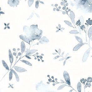 Deep blue watercolor floral monochrome - large scale