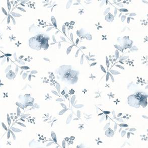 Deep blue watercolor floral monochrome - medium scale