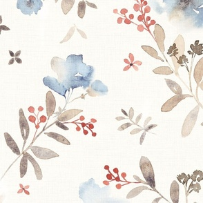 Deep blue watercolor floral red berries - large scale