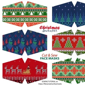 Ugly Christmas Sweater facemask cut out fabric panel