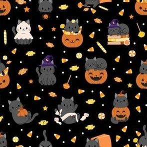 Halloween Spooky Kitties and Candy - Black