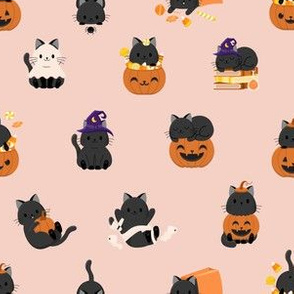 Halloween Spooky Kitties and Candy - Warm Peach