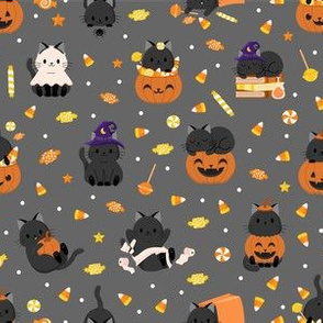 Halloween Spooky Kitties and Candy - Grey