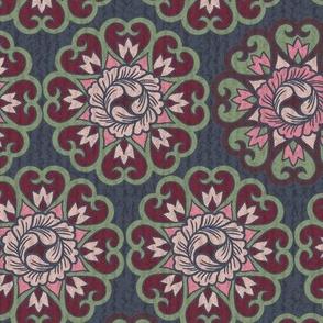Flower Bud Mandalas-Pink, Maroon & Sage-L