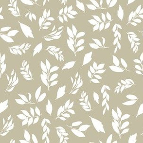 """6"""" White Leaves with Taupe"""
