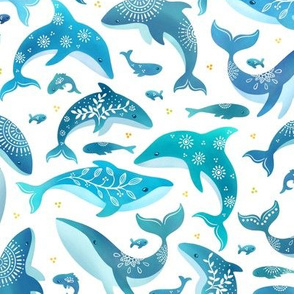 Blue watercolor whales and fish, under the sea nautical life, coral reef animals family folk art