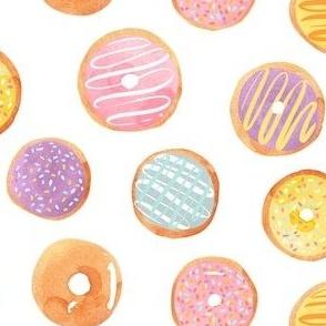 Watercolor Donuts - Rainbow Pastel