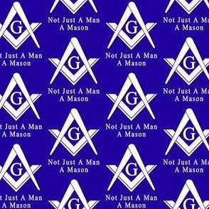 "Lg 2"" Not Just a Man a Mason Blue Masonic Square Compass"