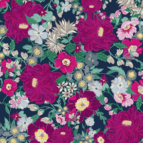 Large Navy Berry Floral