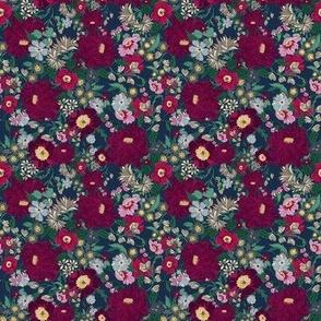 Dark Ditzy Navy Berry Floral