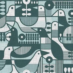 Mid Century modern Birds -Teal- Linen Medium