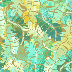 Tropical Banana Leaves Turquoise on Bronze 150