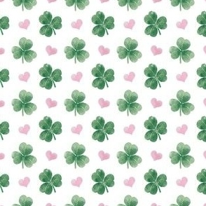 three leaf clover with hearts - ¾ inch