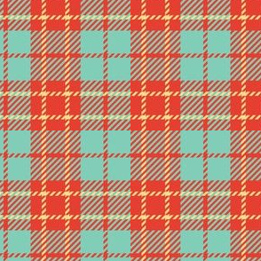 Small Mint Green Orange Plaid