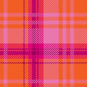 Pale Pink Orange Plaid