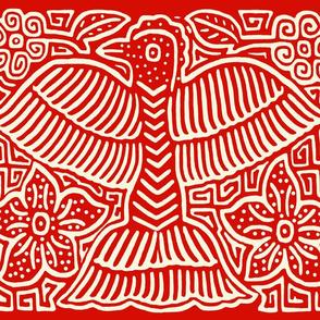 Panama San Blas Red Bird Mola with Border - Fat Quarter