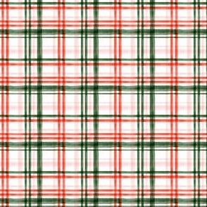 (extra small scale) Christmas watercolor plaid (pink) C20BS