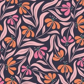 Flowy Floral - Pink and Orange on Navy