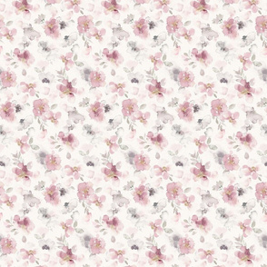 Misty pink floral watercolor - small scale