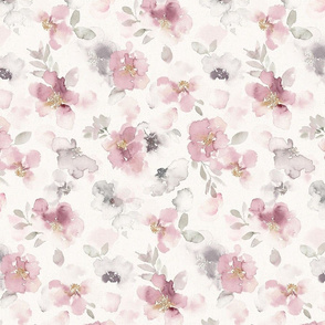 Misty pink floral watercolor - medium scale