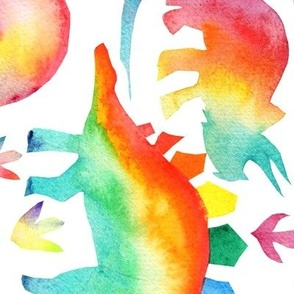 Rainbow Watercolour Dinosaurs -super large scale - rotated
