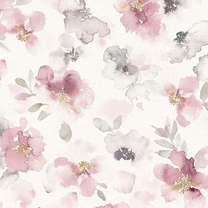Misty pink floral watercolor - large scale