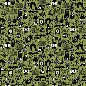 Gothic Halloween Monsters { green small scale }