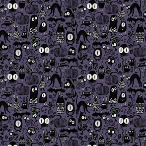 Gothic Halloween Monsters { purple small scale }
