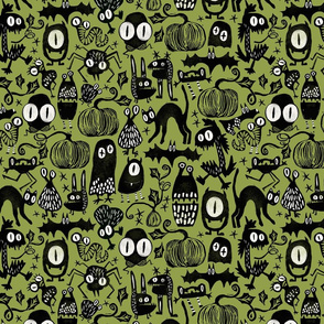 Gothic Halloween Monsters { green - mid scale }