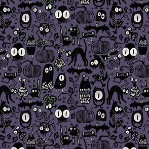 Gothic Halloween Monsters { purple - mid scale }